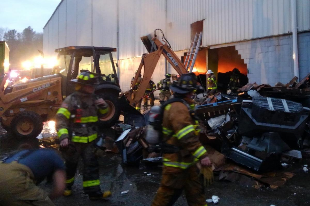 2020: Sherborn Firefighters battling 3-alarm warehouse fire in Holliston